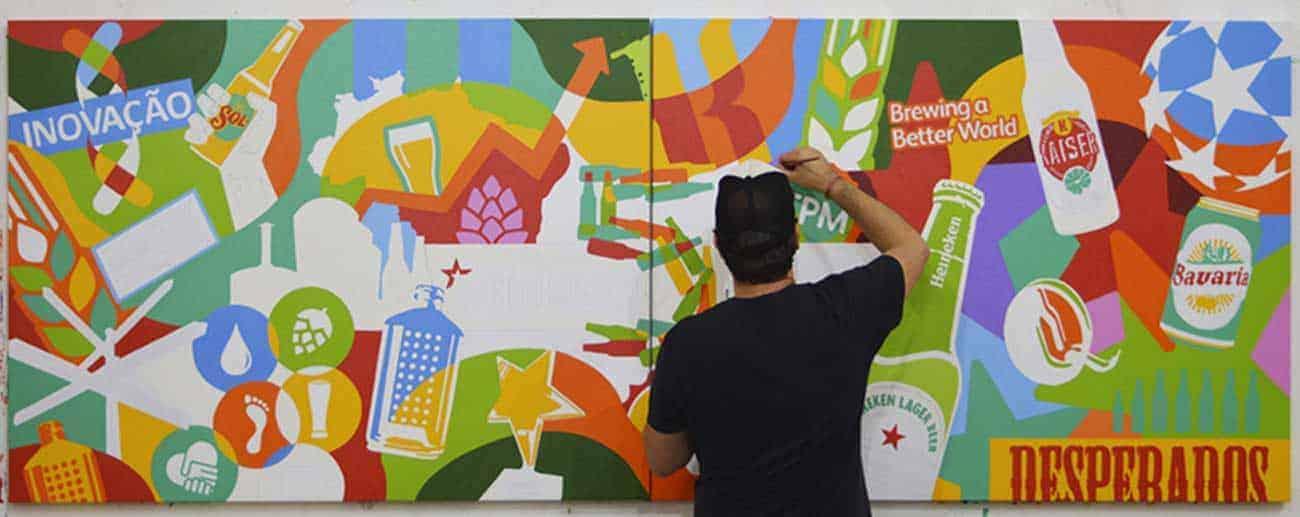 Artista Lobo faz pintura ao vivo