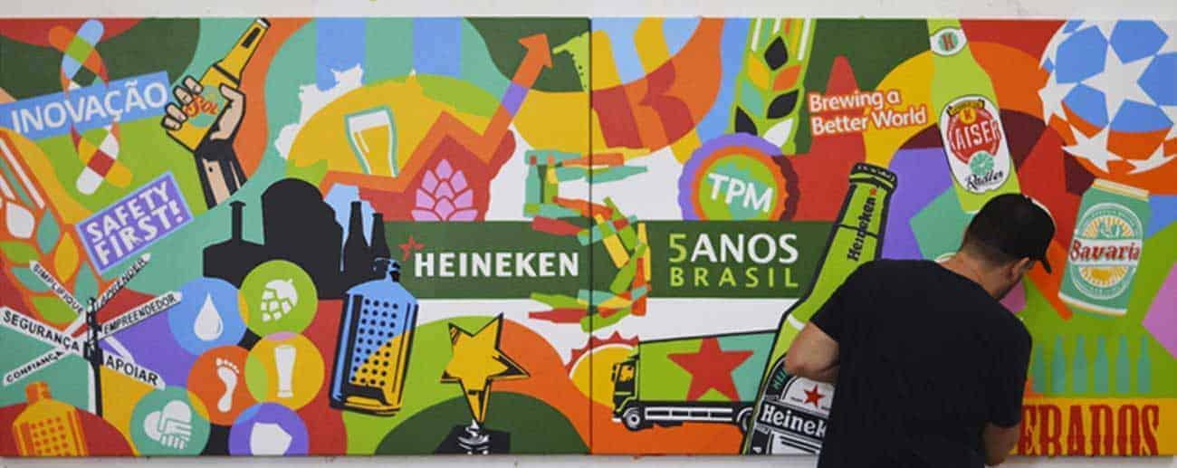 Artista Lobo faz arte para Heineken